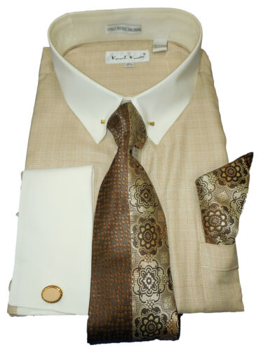 Mens Karl Knox Tan Earth Tone Eyelet Collar Bar French Cuff Dress Shirt SX4385