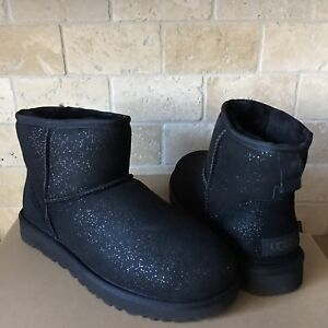 f7af3ce6300 Details about UGG Classic Mini Milky Way Black Sparkle Suede Fur Boots Size  8 Womens