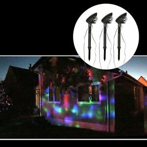 3pc outdoor led light projector set multicolour disco lights image is loading 3pc outdoor led light projector set multicolour disco mozeypictures Image collections