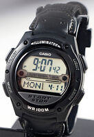 Casio W-756b-1a Mens Referee Timer Watch Black Cloth Band World Time