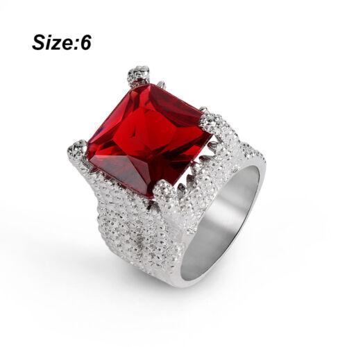 Riesige Ruby 925 Silber Weißer Topas Hochzeit Verlobung Frau Geschenk Ring HQ