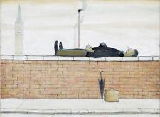 Stampa incorniciata LS Lowry-L' uomo disteso su un muro (picture pittura artista inglese)