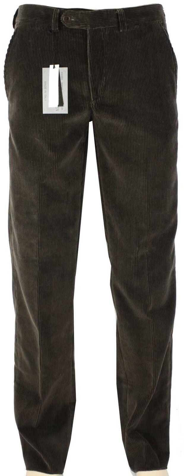 NEWT100%AUT ALEXANDER MCQUEEN BROWN FLATFRONT CORDUROYS PANTS 58 IT 40