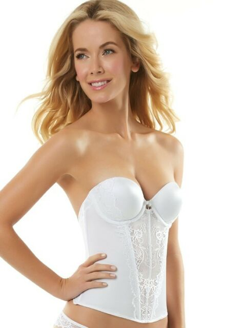 Jezebel Flattering Strapless Lace Low Back Push Up Gel Bridal Bustier # 30533