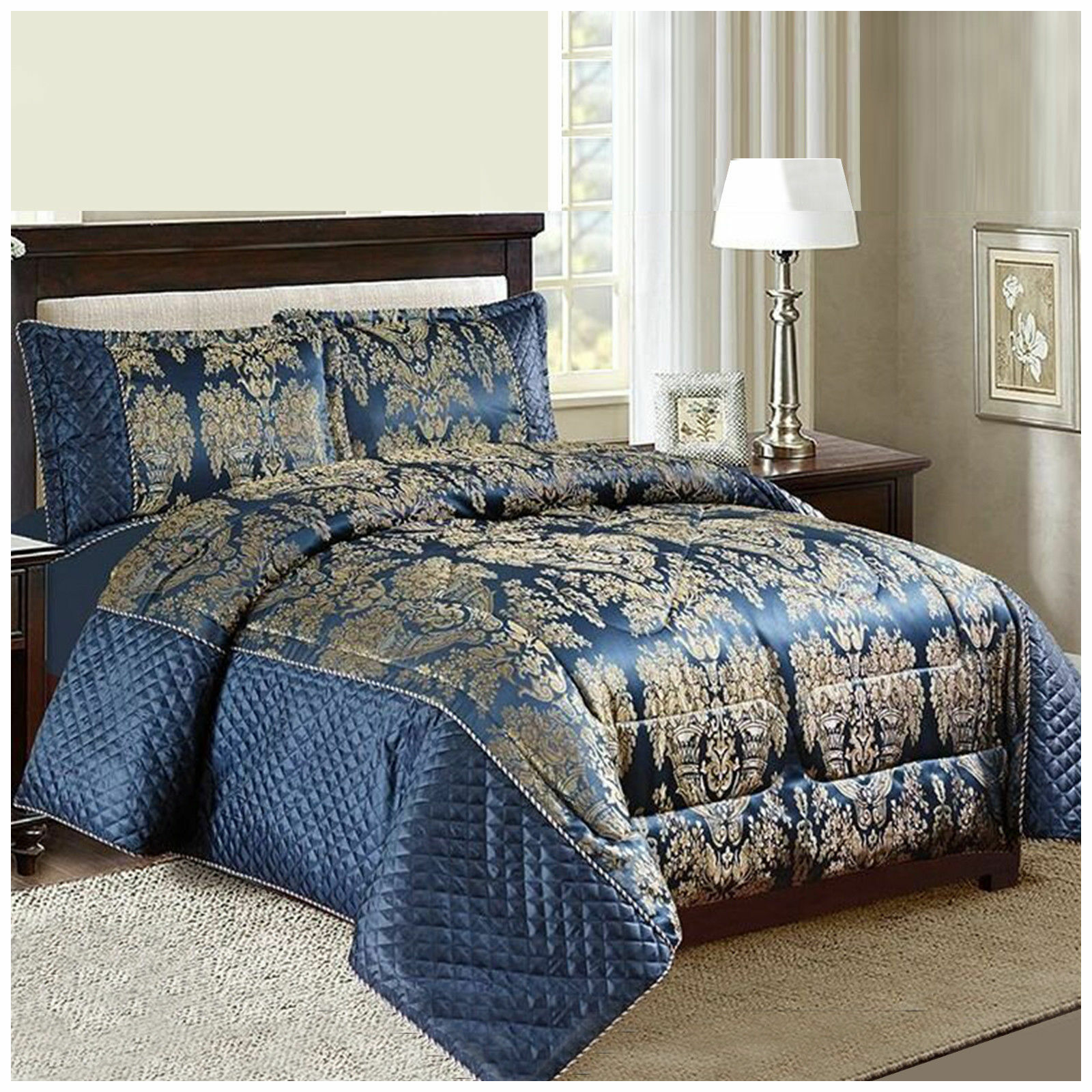 3 Pc JACQUARD SILK  SUPER KING BEDSPREAD  COMFORTER +2  PILLOW SHAMS
