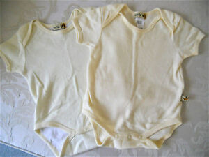 2-Baby-boy-girl-onepieces-Size-000-3-6-month-yellow-amp-yellow-white-cotton-ones