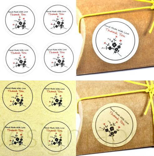 12-96 AUFKLEBER Papier Sticker HANDMADE LOVE THANK YOU Danke DIY Label Etikett