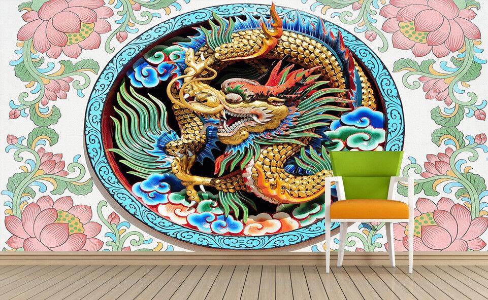 3D Drache Rosa Lotus 84 Tapete Wandgemälde Tapete Tapeten Bild Familie DE  | Hohe Sicherheit  | Niedrige Kosten  | Lebhaft und liebenswert