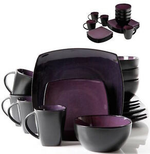 Image is loading Purple-Square-Dinnerware-32-Piece-Set-Serves-8-  sc 1 st  eBay & Purple Square Dinnerware 32 Piece Set Serves 8 Dining Plates Dishes ...