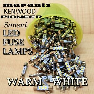 6-LED-Fuse-Lamps-For-Marantz-Sansui-Kenwood-Yamaha-Sony-Warm-White-8-Volt
