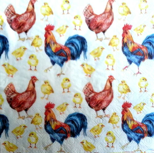 4 Vintage Table Paper Napkins for Party Lunch Decoupage Decopatch Chickens