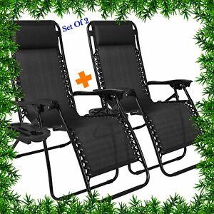 Details about 2 X Sun Lounger Outdoor Reclining Garden Folding Zero Gravity Chair side tray UK
