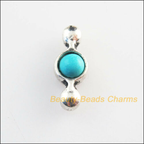 15 New Retro Charms Tibetan Silver Tone Turquoise Tiny 1-1 Connectors 6x15mm