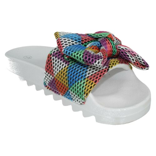 F1R0821 SPOT ON  LADIES BEACH MULTI COLOURED SANDALS BIG BOW MULE SLIPPERS SIZES