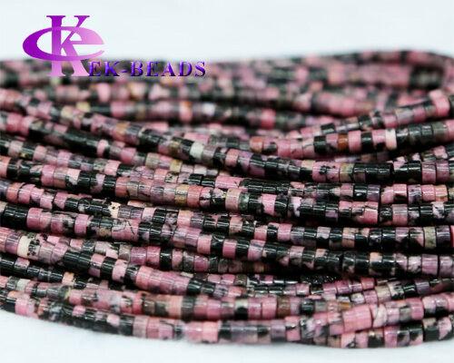 Discount Wholesale Rhodonite Tube Loose Beads Barrel Column Wheel Rondelle Beads