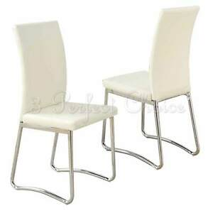 Modern 2 Pc Cream Faux Leather Upholstered Dining Side