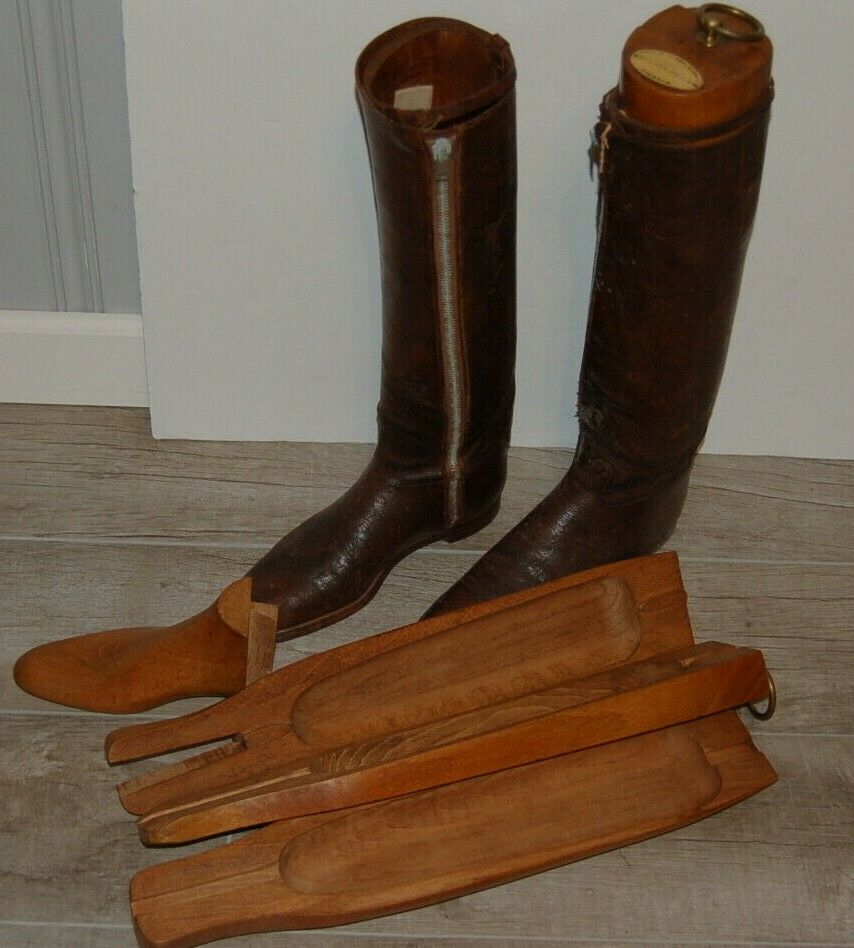 Vintage Maxwell London old Boot shoes Trees & Leather Boots Riding Equestrian