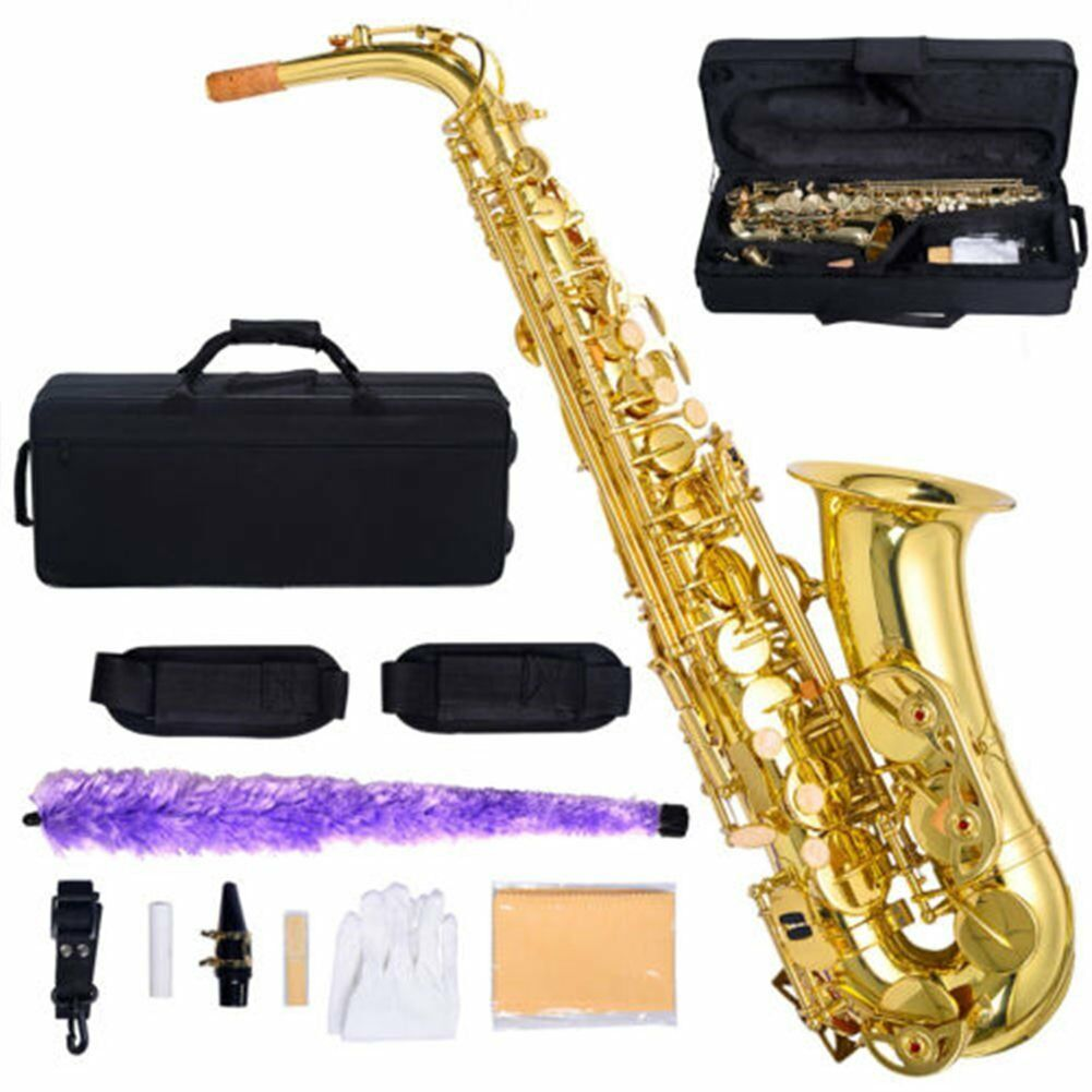 New Professional Eb Alto Sax Saxophone Paint gold with Case and Accessories EK