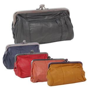 Leder-Knipsboerse-Buegelboerse-Geldboerse-Klippverschluss-Portemonnaie-Kosmetik-Bag