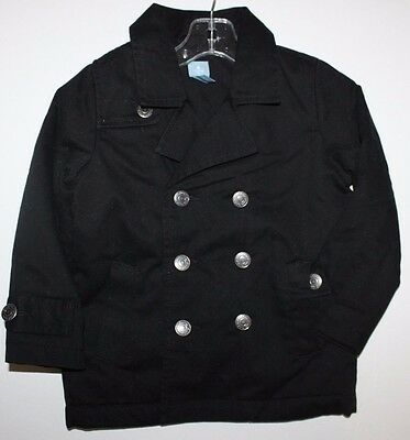 baby Gap NWT Boy Girl 12 18 24 Mo. 2T 3T 4T Black Canvas Pea Coat w/ Poly Fill
