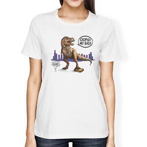 1Tee Womens Loose Fit Dinosaur Crushing Car /'Oops My Bad/' T-Shirt