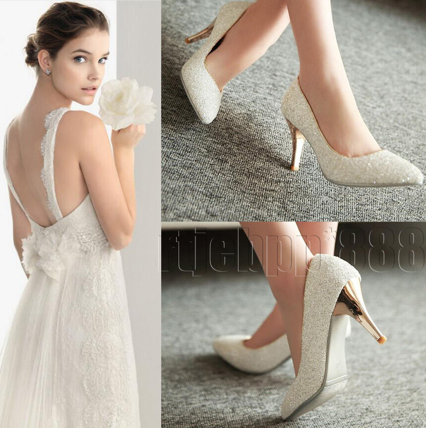 Glitter Mid High Stiletto Heels Bridal Bridesmaid Wedding Pumps Party Prom shoes