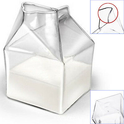 Crystal Dairy Milk Carton Style Glass Cup Cocktail Ice Cream Drinkware Bar Party