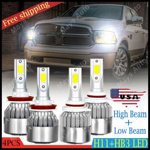 HB3 9005 H11 LED Headlight Kit Hi//Low Beam Bulbs COB 6000K For Dodge Ram 13-18