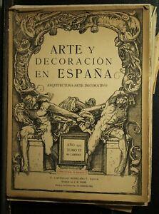 antique old Spanish  art Architecture book  Arte y Decoracion en Espana 1923