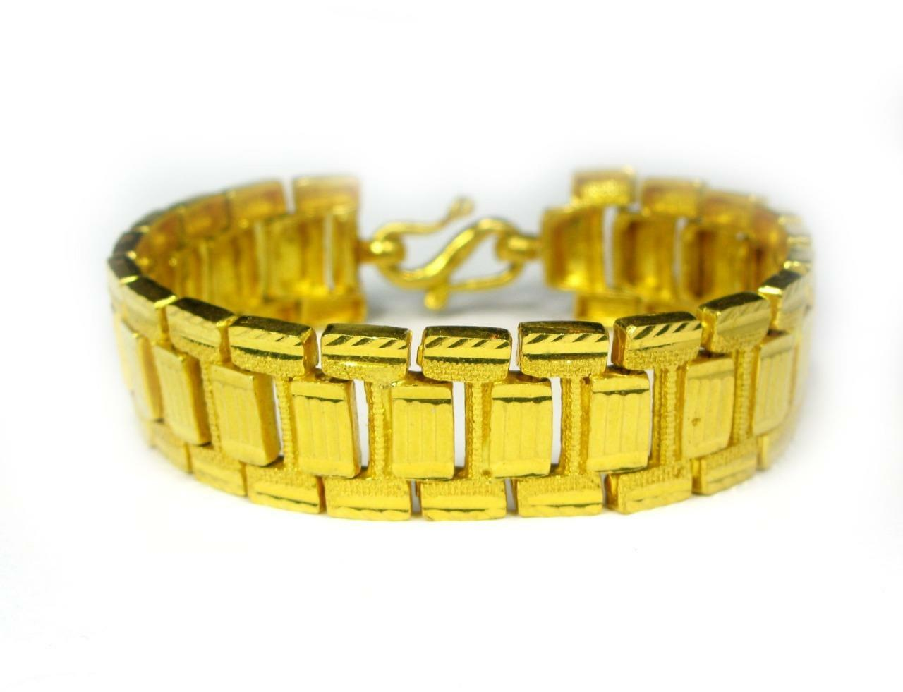 VINTAGE HEAVY 22K Yellow gold 15.8mm WIDE Link Bracelet 46.5 Grams - Well Made