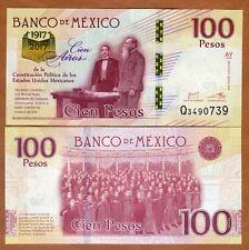 Mexico 100 pesos 100th anniv Constitution 1917-2017 Banknote Crisp uncirc
