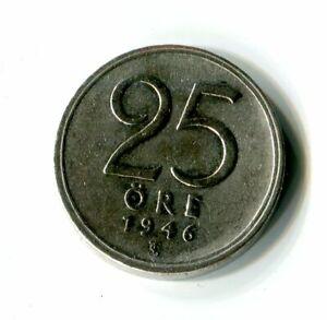 25-Ore-Schweden-1946-Gustaf-V-Krone-Silber-M-961