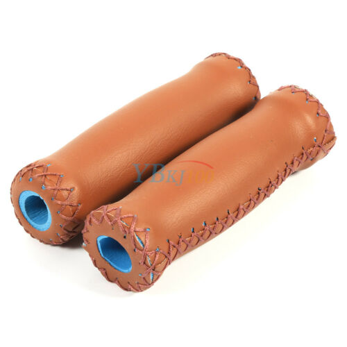 1 Pair 3 Colors Retro PU Leather Bicycle Handlebar Bike Handle Cover Grips SD