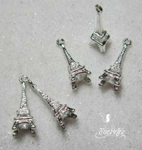 Silver plated 3D Eiffel Tower Paris France charms x 5 for craft jewellery cards