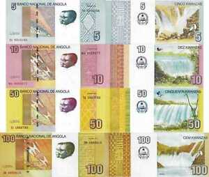 ANGOLA-Lot-Lotto-4-banconote-5-10-50-100-Kwanzas-2012-2017-FDS-UNC