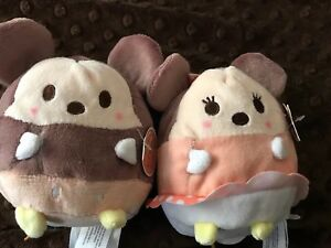 """New w// Tag Disney /""""Ufufy/"""" Mickey Mouse and Minnie Mouse Small Plush /'Set of 2/'"""