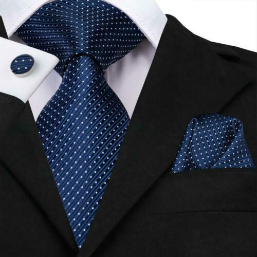 Blue Solid Ploka Dots Mens Tie Woven Silk Necktie Set Hanky Cufflinks Label Pin