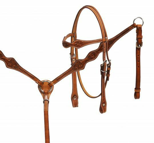 WESTERN SADDLE HORSE LEATHER BRIDLE W  REINS & BREAST COLLAR PLATE SET MED BROWN