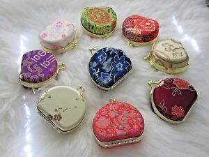 Silk Embroidered Jewelry Box Coin Purse Gold Mirror Compact Gold