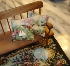 """Lot of 2 - Pillows Doll House 1 :12 Scale -Roses and Lace 1 1/2 """""""