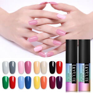 2 Bottles Soak Off UV Gel Nail Polish LILYCUTE Top Base Nail Art Manicure 5ml