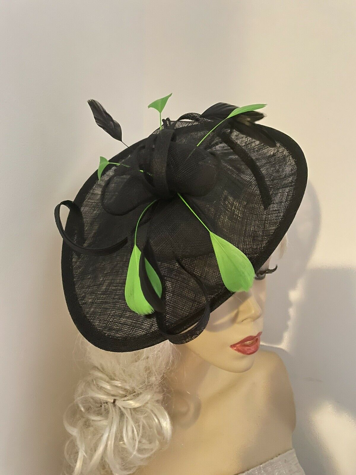Fascinator Black Lime Green Feathers Wedding Saucer Hat Formal Ladies Women's