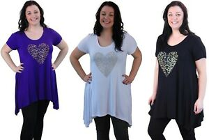 Ladies-Plus-Size-Short-Sleeve-Leopard-Print-Stud-Heart-Casual-Long-T-Shirt-Top