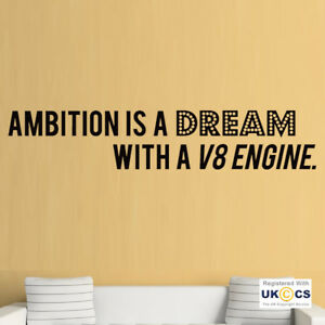 Détails Sur Autocollants Muraux Ambition Rêve Moteur V8 Voiture Citation De Motivation Art Autocollant Vinyle Pièce Afficher Le Titre D Origine