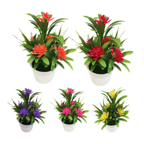 Artificial Fake Lotus Flower Potted Plant Bonsai Wedding Party Garden Decoration