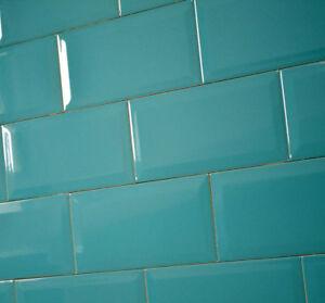 Image Is Loading Victorian Subway Aqua Blue Bevelled Brick Ceramic Wall