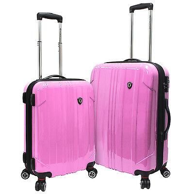 "Traveler's Choice Pink Sedona 2pc 100% Polycarbonate 21"" 25"" Spinner Luggage Set"