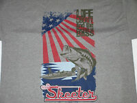 Skeeter Oxford Grey Tee Shirt With American Flag And Bass Fish