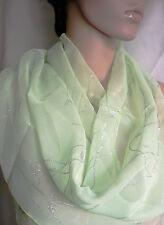 eleganter Schal Stola grün mit Ranken silber Glitzer 149 x 36 Tuch Karneval NEU