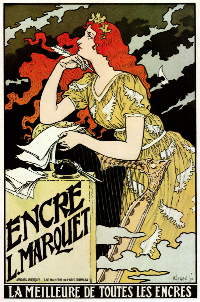 3705.Best of all inks French POSTER.Nouveau Art Decor.Home interior wall design
